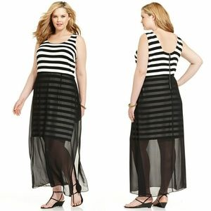 🆕 VINCE CAMUTO Striped Plus Size Maxi Dress NWT